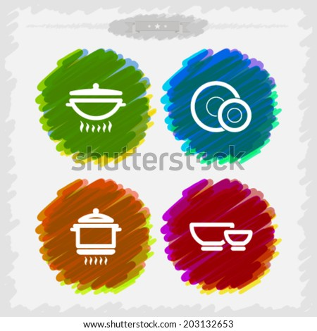 Cooking utensils, listed from left to right -  Wok, Plate & dessert plate, Pot, Bowl. - stock vector