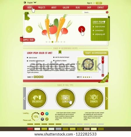 Cooking website design template - stock vector