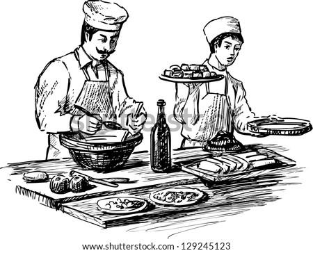 cooks - stock vector