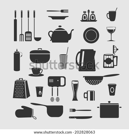Cookware set of objects for decoration background - stock vector