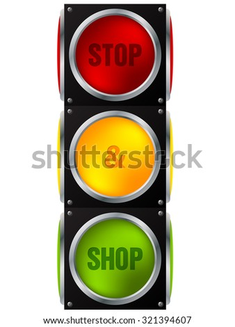 Cool advertisement stop and shop traffic light - stock vector