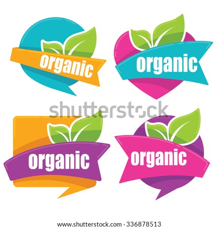 cool and bright organic stickers collection - stock vector