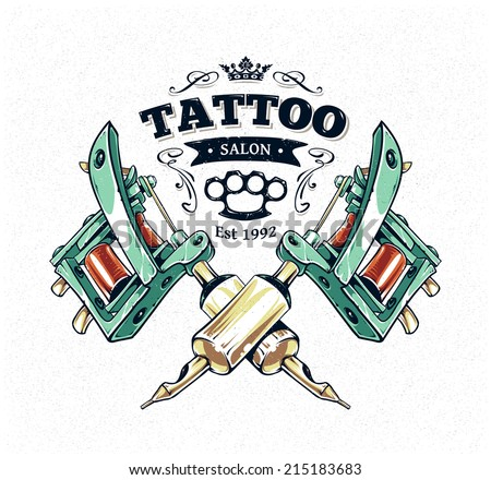 Cool authentic tattoo studio poster template with tattoo machines and classic typography. Vector illustration. - stock vector