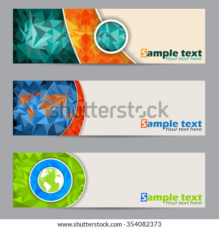 Cool banner set of three with abstract geometric shapes - stock vector