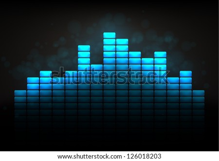 Cool blue equalizer concept. EPS10 vector. - stock vector