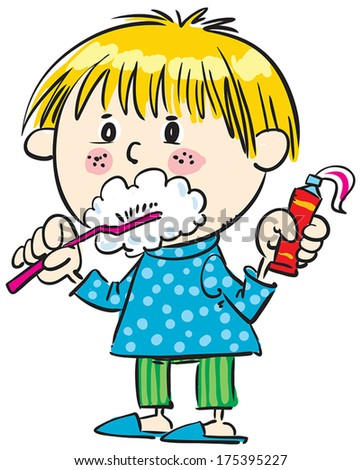 Cool boy brushes his teeth. - stock vector