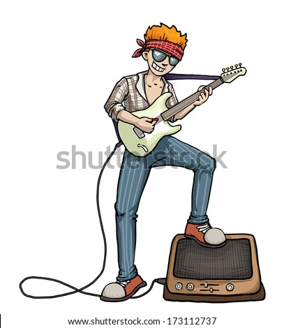 Cool boy playing electric guitar with an amp, vector illustration - stock vector