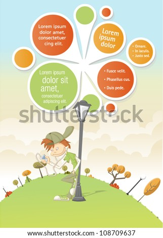 Cool cartoon boy listening music on mp3 player on green park with a balls template / design. - stock vector