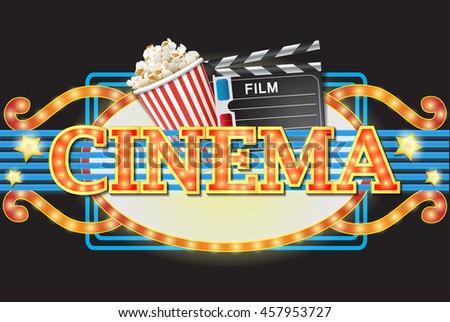 Cool cinema sign - stock vector