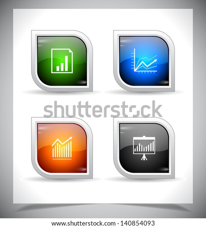 Cool color shiny web buttons. Vector illustration. - stock vector