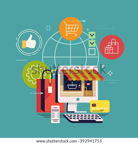 Cool concept background on E-commerce and online shopping global business. Buying on Internet. Digital market. Online store shop - stock vector