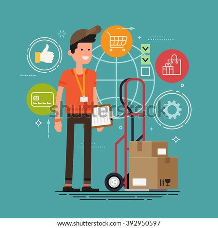 Cool courier character with delivery cart with boxes and clipboard. Shipping and logistics service concept background in business and industry. Global supply chain shipment worker - stock vector