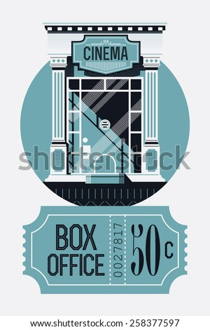 Cool detailed concept web banner template on film box office report with retro style cinema movie theater tickets booth window and classic admit one ticket - stock vector
