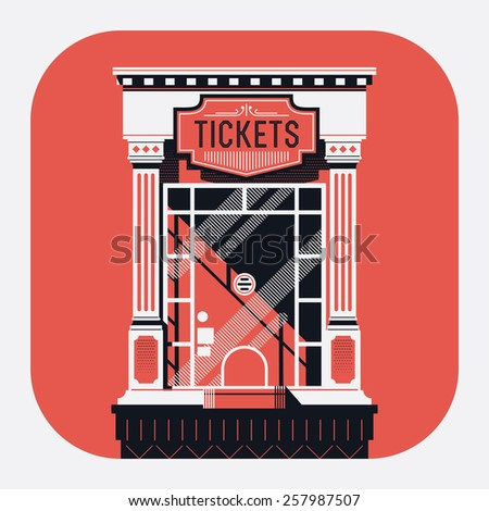 Cool detailed retro style cinema movie theater tickets booth window web or application rounded corners icon. Motion picture box office concept design - stock vector