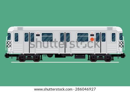 Cool detailed underground rapid transit train car vector design element | Modern flat design urban transport item subway railway car - stock vector
