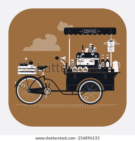 Cool detailed vector street coffee bicycle cart rounded corners web icon | Mobile retro bike powered cafe with espresso machine, syrup bottles, wooden crate on rear rack, disposable cups and more - stock vector