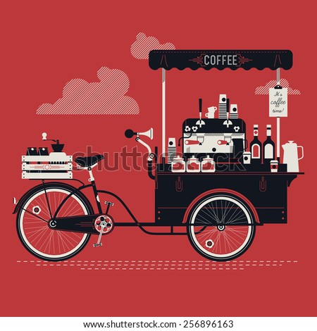 Cool detailed vector street coffee bicycle cart three colored illustration | Mobile retro bike powered cafe with espresso machine, syrup bottles, wooden crate on rear rack, disposable cups and more - stock vector