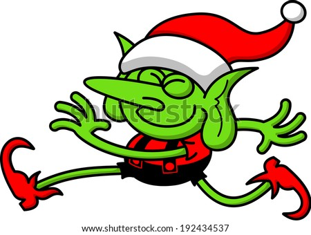 Cool elf with green skin, big nose, wearing a Santa hat while smiling and striding enthusiastic and rhythmically - stock vector