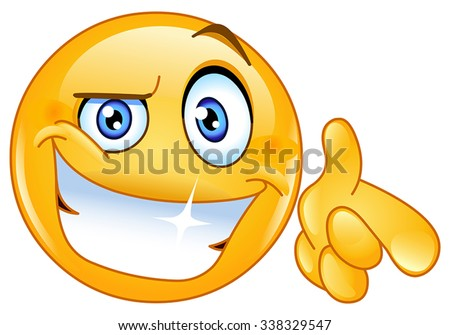 Cool emoticon pointing at you - stock vector
