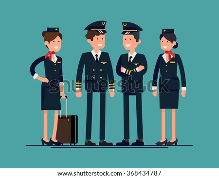 Cool flat character design on civil commercial aircrew standing isolated. Group of officers and flight attendants standing smiling. Stewardesses, pilot and copilot standing, isolated - stock vector