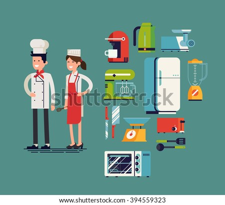 Cool flat design on essential kitchen appliances set, tools and equipment with culinary and cuisine professionals. Smiling restaurant cook chefs. Catering cuisine staff characters - stock vector