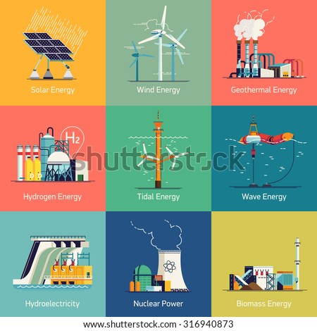 Cool flat design vector set of web icons on electricity generation plants and sources | Ecological friendly low and zero emission power plants and energy producing stations - stock vector