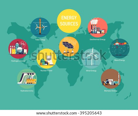 Cool flat vector illustration on global world electric power sources. Energy sources  consumption. Wind, nuclear, solar, hydrogen and other energy use. Electricity usage infographic elements - stock vector