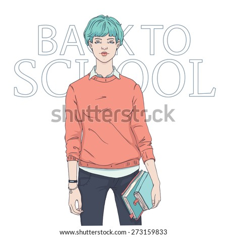 Cool girl student dressed in a sweatshirt and jeans and holding books ready to back to school. Hand drawn beauty, fashion and hairstyle vector illustration. - stock vector