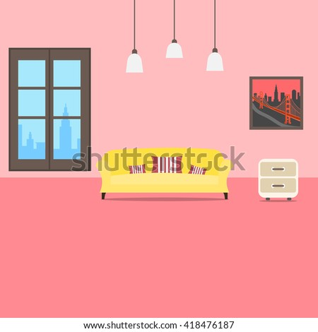 Cool graphic living room interior design with furniture: sofa, cupboard,picture with golden gate  on wall, lamps. City view in window. Flat style vector illustration. - stock vector