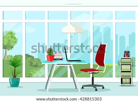 Cool graphic office room interior design with great window and furniture: chair, table, bookcase, lamp. Flat style vector illustration.  - stock vector