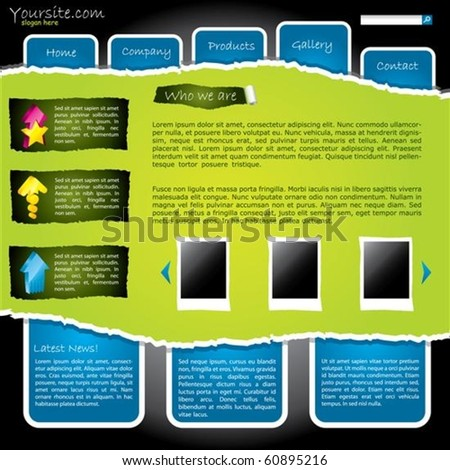 Cool green torn website with labels - stock vector