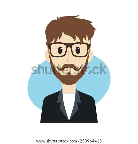 cool guy cartoon - hipster character - stock vector