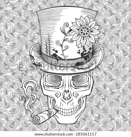 cool looking skull in a top hat with a cigar - stock vector