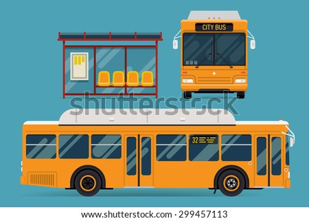 Cool modern flat design public transport items bus stop structure and city transit shorter distance bus, side and front view, isolated - stock vector