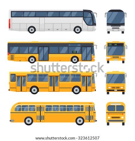 Cool modern flat design public transport items city transit shorter distance bus, side and front view. Retro vintage bus. Big tour bus. - stock vector