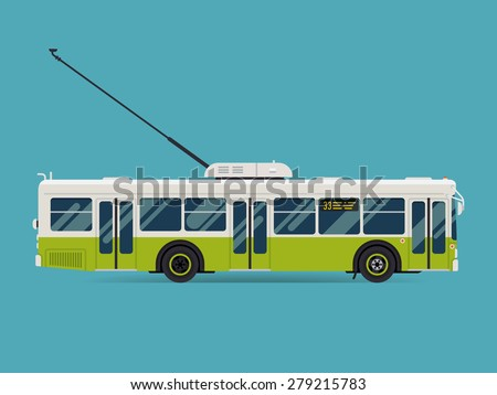 Cool modern flat design public transport vehicle city transit shorter distance trolley bus, side view, isolated - stock vector