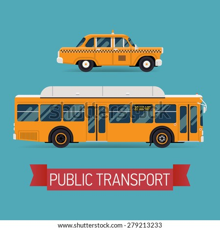Cool modern flat design public transport vehicle icons taxi cab car and city transit shorter distance bus, side view, isolated - stock vector