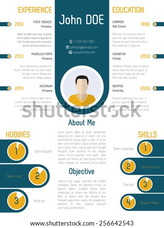 Cool modern resume curriculum vitae design with contrast colors - stock vector