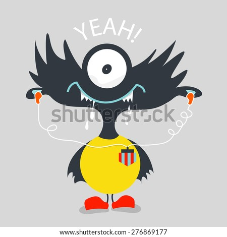Cool monster graphic - stock vector
