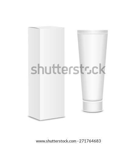 Cool Realistic white tube and packaging. For cosmetics ointments, cream, tooth paste, glue  Vector.  - stock vector