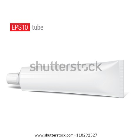 Cool Realistic white tube. For cosmetics, ointments, cream, tooth paste, glue Vector.elements - stock vector