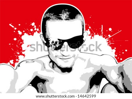 cool red guy - stock vector