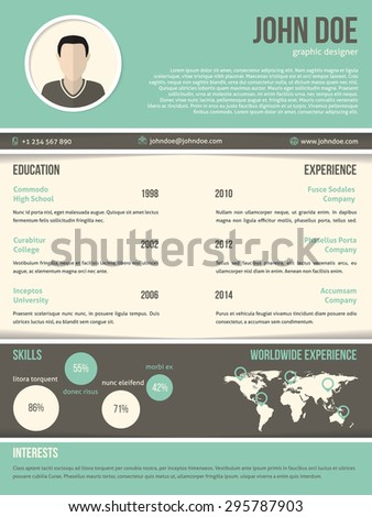 Cool resume cv curriculum vitae template  design with dark and light contrast - stock vector