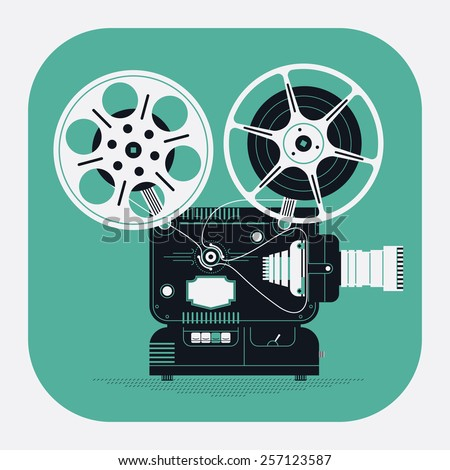 Cool retro movie projector vector detailed rounded corners web icon | Analog device: cinema motion picture film projector with different film reels - stock vector