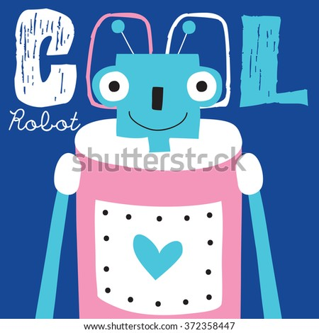 cool robot vector illustration - stock vector
