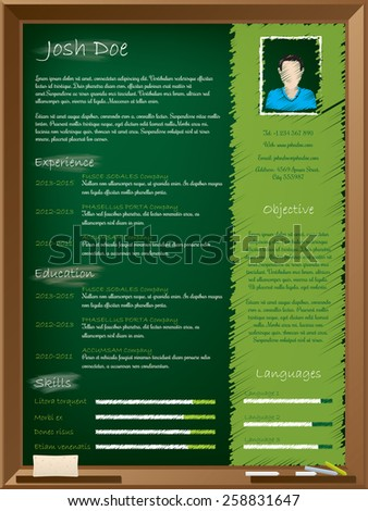 Cool school theme resume design with chalkboard and chalk writing  - stock vector
