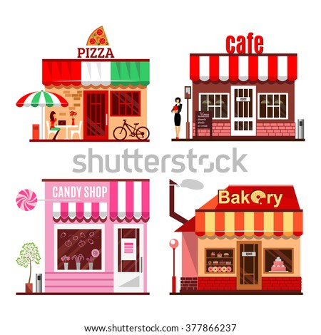 Cool set of detailed flat design city public buildings. Restaurants and shops facade icons. Pizza, candy shop, bakery, coffee house, cafe. Vector illustration for cute cartoon food design. - stock vector