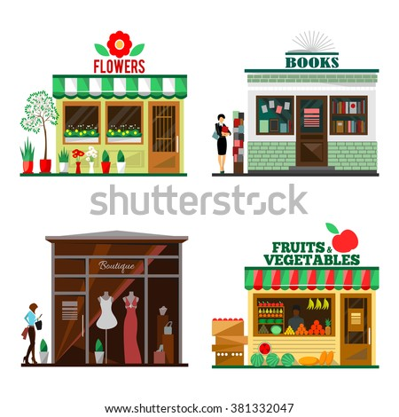 Cool set of detailed flat design city public buildings. Store facade icons. Flowers, books, fruits and vegetables, boutique shops. Vector illustration for cute cartoon food design. - stock vector