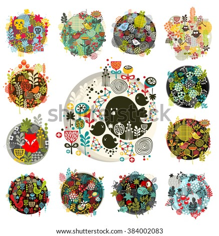 Cool set of round floral balls with birds and animals.Vector illustration of spring flowers. - stock vector