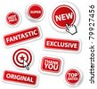 Cool set of vector red stickers - stock vector